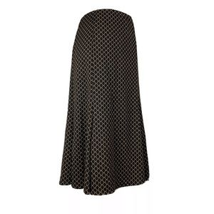NY COLLECTION Knit Midi Skirt Honeycomb Black Tan